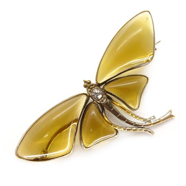 VINTAGE ART DECO AMBER GLASS WINGED DRAGONFLY BROOCH