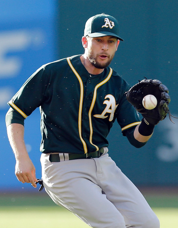 . Oakland Athletics\' Jed Lowrie fields a ball hit by Cleveland Indians\' Carlos Santana in the fourth inning of a baseball game, Wednesday, May 31, 2017, in Cleveland. Santana was out on the play. (AP Photo/Tony Dejak)