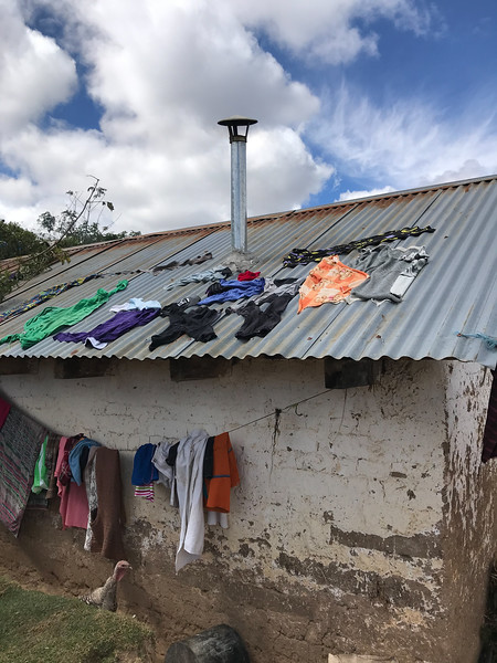 Drying clothes on roof
