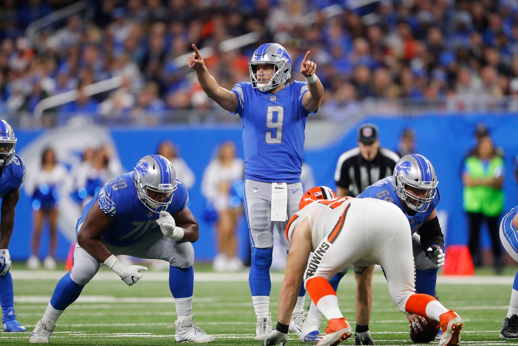 . Detroit Lions quarterback Matthew Stafford (9) signals during the second half of an NFL football game against the Cleveland Browns, Sunday, Nov. 12, 2017, in Detroit. (AP Photo/Paul Sancya)
