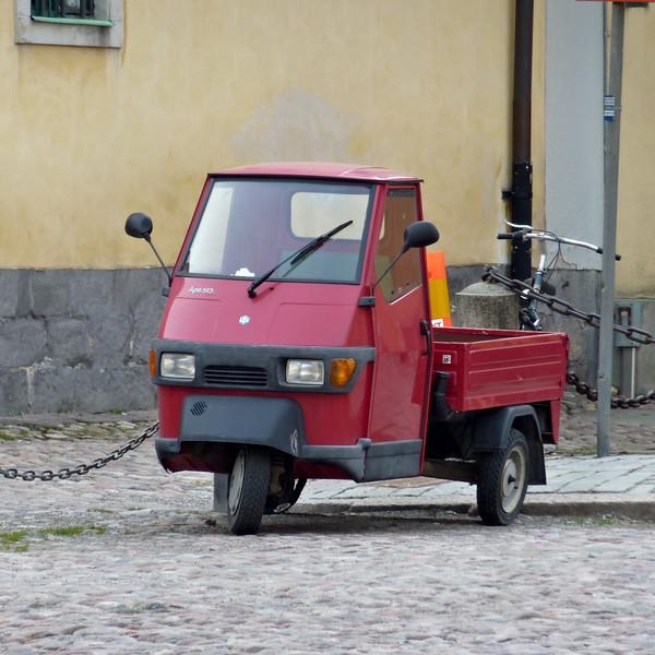 A Piaggio Ape near Kungliga Slottet in Stockholm