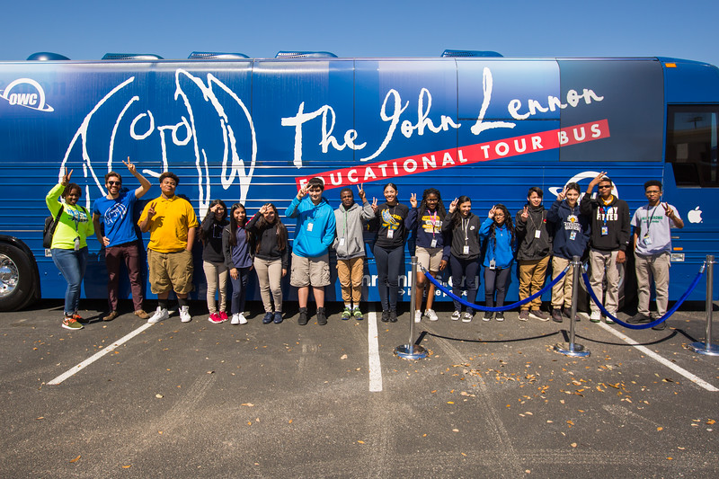 2018_03_07, Alief ISD, Houston, TX, bus exterior, peace signs, apple, owc, Josh greene, tents and tours,