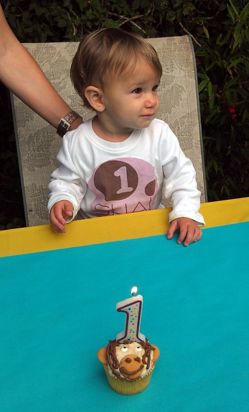 Shai's 1st birthday cupcake