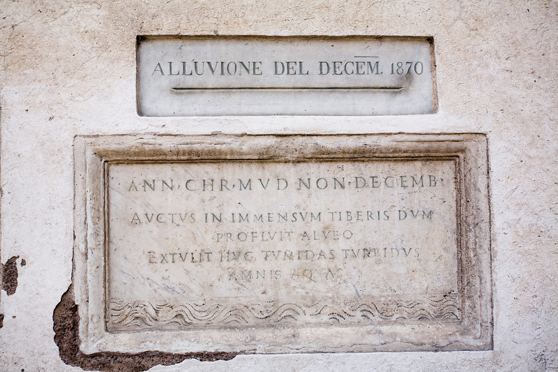 A flood Level Marker dated in 1870, Rome