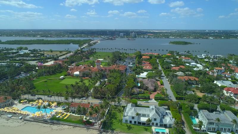 Aerial establishing shot Palm Beach Mar A Lago resort club