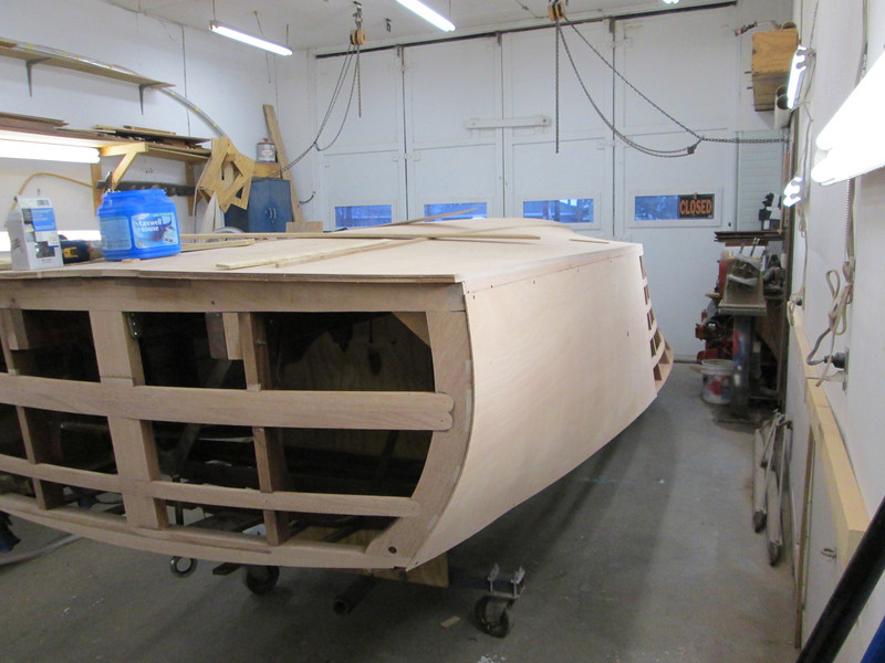 Rear port view of plywood skin being fit.