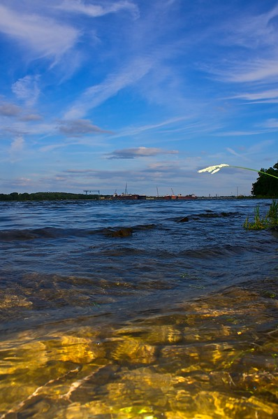 Looking across Sturgeon Bay from Potawatomi State Park Door County Wisconsin.