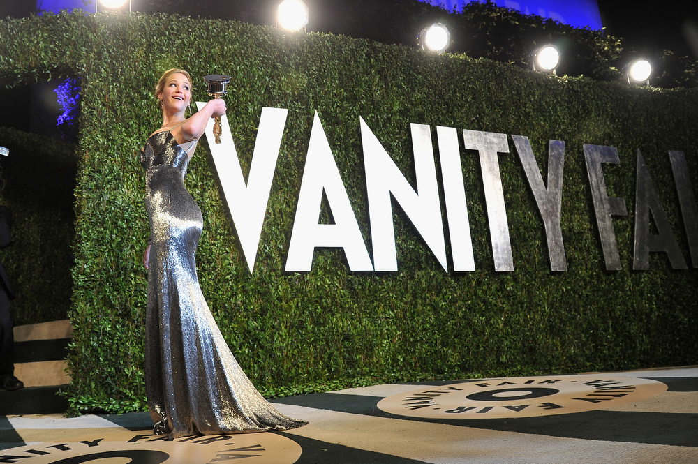 Description of . Actress Jennifer Lawrence arrives at the 2013 Vanity Fair Oscar Party hosted by Graydon Carter at Sunset Tower on February 24, 2013 in West Hollywood, California.  (Photo by Pascal Le Segretain/Getty Images)