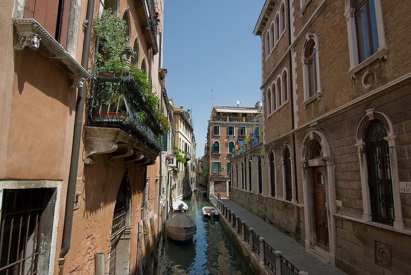 Beautiful buildings and narrow alleys in Venice, Italy