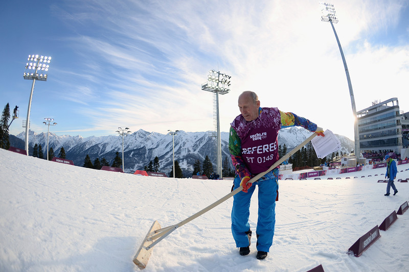 . A course referee levels the surface of the snow before the Men\'s Individual 20 km during day six of the Sochi 2014 Winter Olympics at Laura Cross-country Ski & Biathlon Center on February 13, 2014 in Sochi, Russia.  (Photo by Harry How/Getty Images)