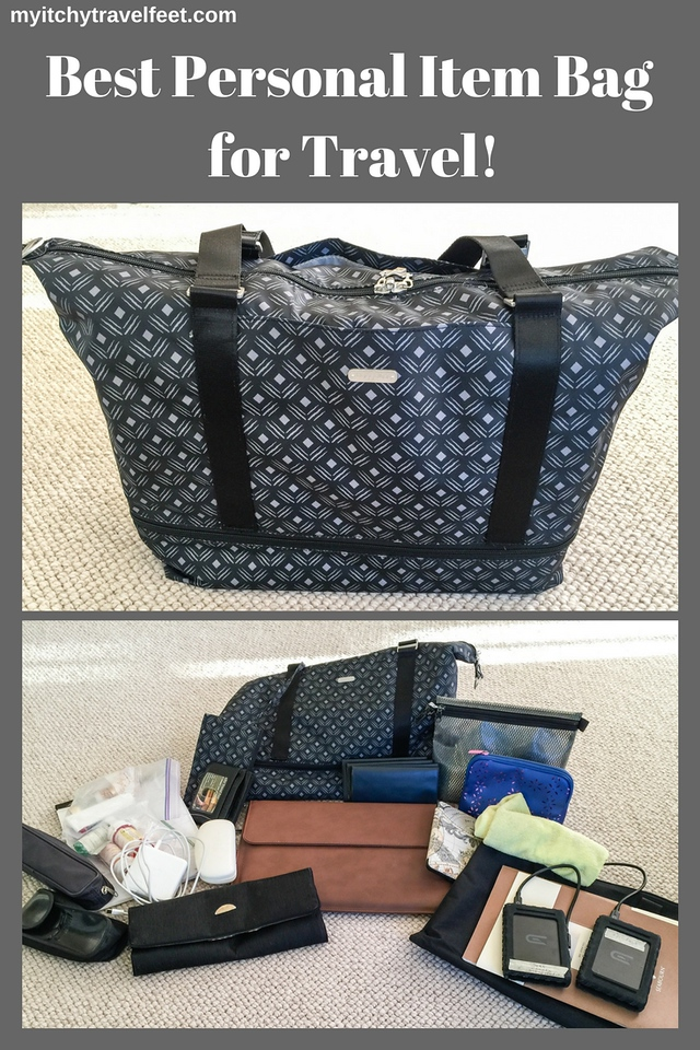 Text on photo: Best Personal Item Bag for Travel! Two photo collage: black and white print expandable carry on duffle packed. All of the items that were in the duffle bag.