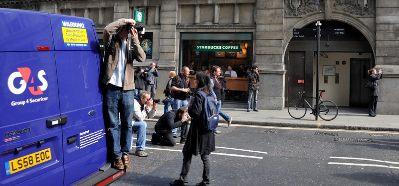 Photographing the G8 demonstrators, London.