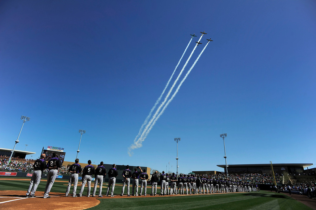 . SCOTTSDALE, AZ. - FEBRUARY 23: World War ll planes fly over Salt River Fields at Talking Stick after the national anthem before the game against the Colorado Rockies and Arizona Diamondbacks February 23, 2013 in Scottsdale. (Photo By John Leyba/The Denver Post)