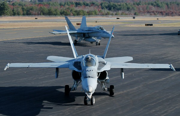 WILDCAT11 flight of three F/A-18C visit Westfield, MA. (KBAF) 11-19-2014