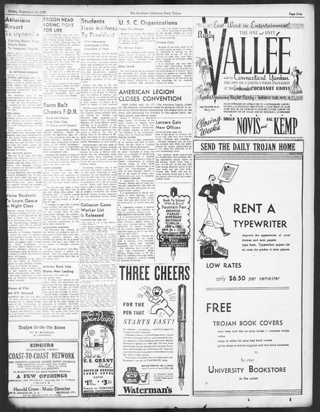 Daily Trojan, Vol. 29, No. 6, September 24, 1937