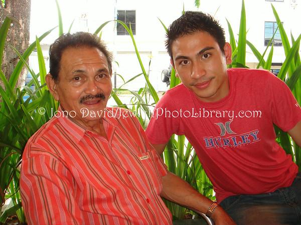 INDONESIA, Manado. Leo Van Beugen, Yaacov Eli Baruch's maternal great uncle (Elias' son), and Yaacov. (2007)