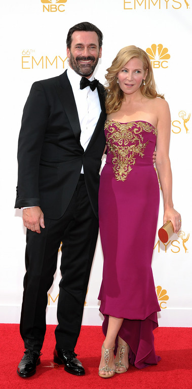 . Jon Hamm and Jennifer Westfeldt on the red carpet at the 66th Primetime Emmy Awards show at the Nokia Theatre in Los Angeles, California on Monday August 25, 2014. (Photo by John McCoy / Los Angeles Daily News)