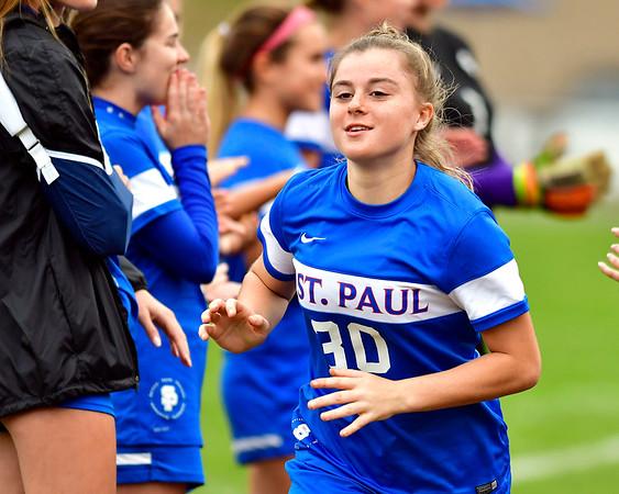 10/6/2018 Mike Orazzi | Staff St. Paul Girls Soccer's Emma Cretella (30)Saturday.