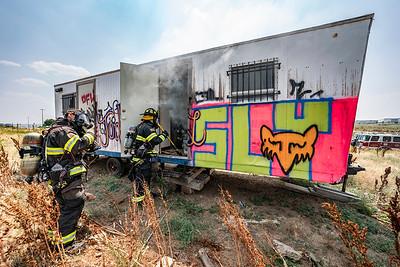 Broncos Parkway Trailer Fire