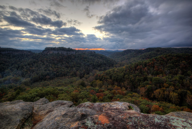 RRG Sunset<br /> A view of a sunset after a long day of hiking around Red River Gorge in Fall.