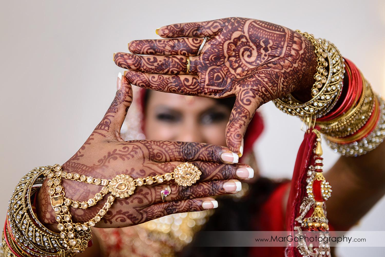 wedding henna on the indian bride hands at Hotel Shattuck Plaza in Berkeley