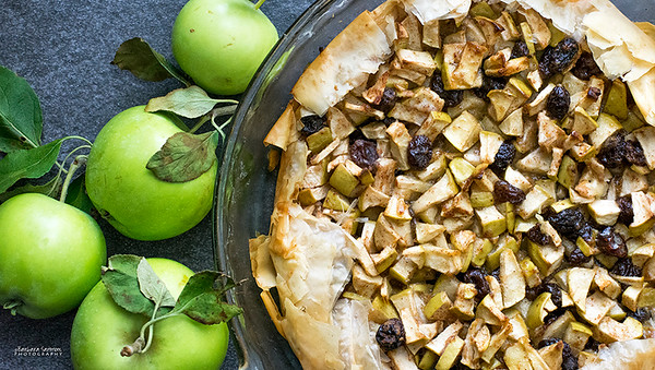 June Apple and Raisin Pie Made with Filo Dough