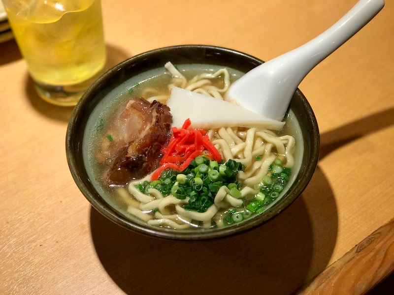 A bowl of soki soba - one of the variations on Okinawan soba on the menu.