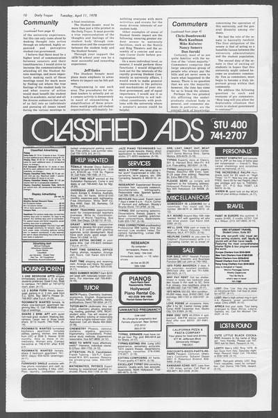 Daily Trojan, Vol. 73, No. 37, April 11, 1978