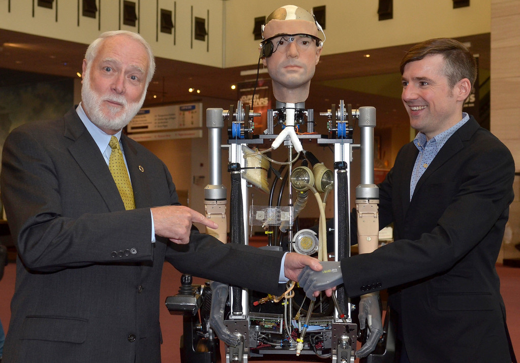 . Wayne Clough and Berlolt Meyer speak during The Incredible Bionic Man arriv alat the Smithsonian National Air and Space Museum where he will be on display through the fall, the subject of the new Smithsonian Channel special premiering Sunday, October 20 at 9pm on October 17, 2013 in Washington, DC. (Photo by Kris Connor/Getty Images for Showtime)