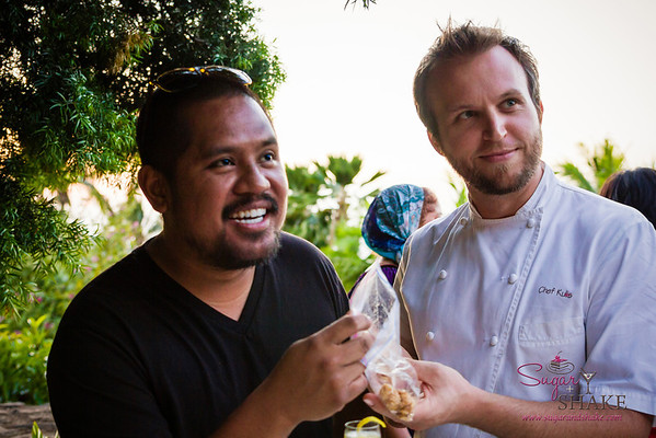 Chef Sheldon Simeon tagged along on our dine-around. He and Chef Chris Kulis are questioning @Melissa808's dining etiquette here. (She brought her own snacks!) © 2014 Sugar + Shake