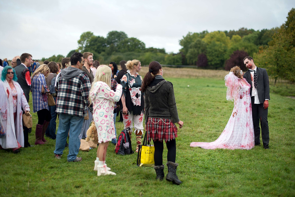 """. A volunteer zombie bride and groom prepare to take part in one of Britain\'s biggest horror events, the \""""Zombie Evacuation Race\"""" at Carver Barracks near Saffron Walden, England, on October 5, 2013. The race sees thousands of participants attempt to complete a gruelling 5 kilometre cross-country run, while evading \""""zombies\"""", intent on snatching the three life-line strips hanging from every runner\'s waist.  Those who manage to get through with any strips remaining are named as survivors while those without take home an \""""infected\"""" badge. LEON NEAL/AFP/Getty Images"""