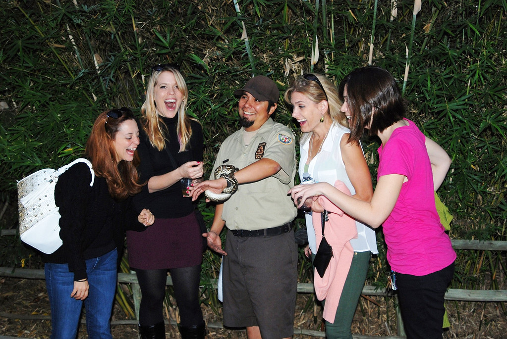 . Even big kids like snakes� (l-r) Heather Wood, Cristina Cimellaro, Heather Evans and Veronica Wylie enjoy an encounter with the Angolan python, held by his keeper, Sam. (Photo by Michaelyn Straub)