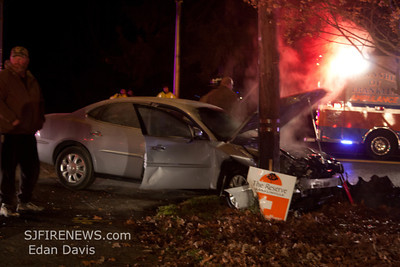 12-13-2011, MVC With Fire, Franklinville, Gloucester County, Coles Mill Rd. and Williamstown Rd.