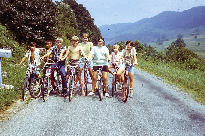 1969 - Pam and Stickleyville Kids Biking.jpg