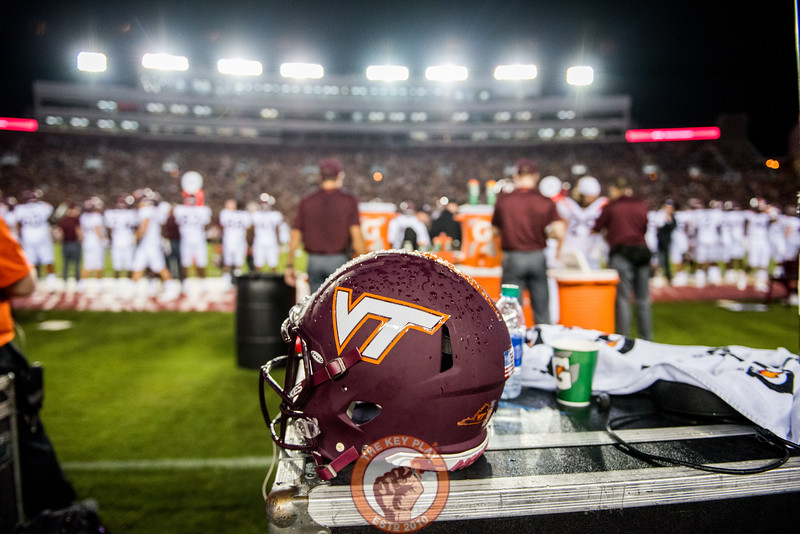 The Hokies wore matte maroon helmets during the matchup between Virginia Tech and Florida State at Doak Campbell Stadium, Monday, Sept. 3, 2018. (Photo by Cory Hancock)