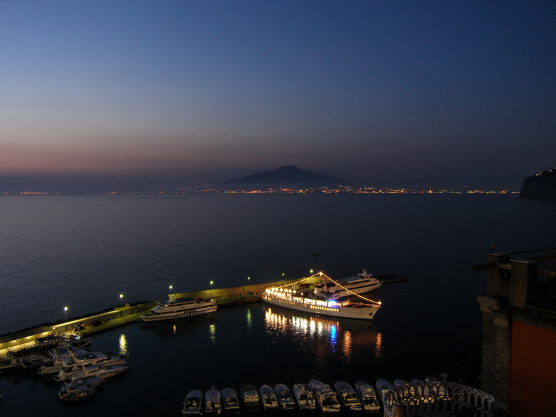 Vesuvius and Yacht from Grand Hotel Excelsior Vittoria