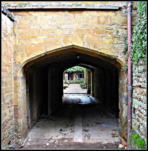 Carriage Entrance, Wroxton Abbey  Now occasionally used as a passageway by the housekeeping staff