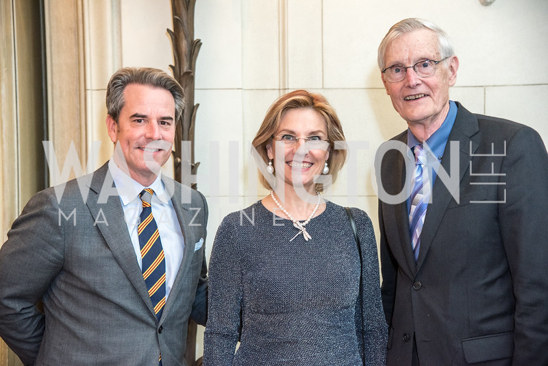 Ambassador Stuart Holliday, Mrs. Tihomir Stoytcheva, Dr. Bob DuPont, Ambassadors for Drug-Free Youth, Mentor Foundation USA, at the Meridian House, November 9, 2017.  Photo by Ben Droz.