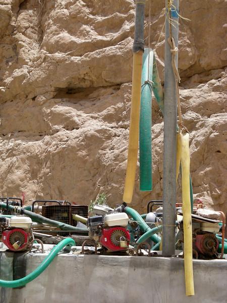 individually owned, locked, water pumps, Wadi Tiwi