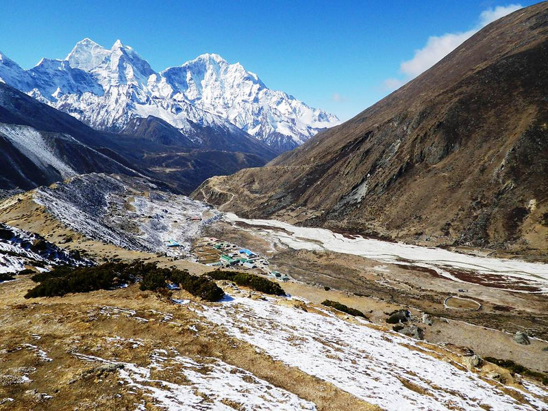 We are back to Solu Khumbu Valley - view towards Pheriche (13,911ft = 4.240m) down below.