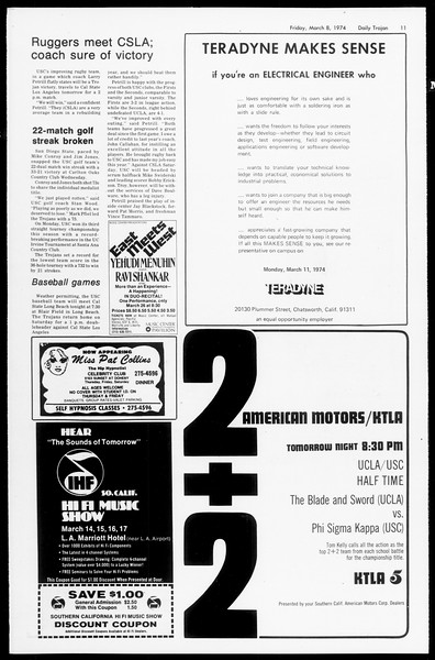 Daily Trojan, Vol. 66, No. 86, March 08, 1974