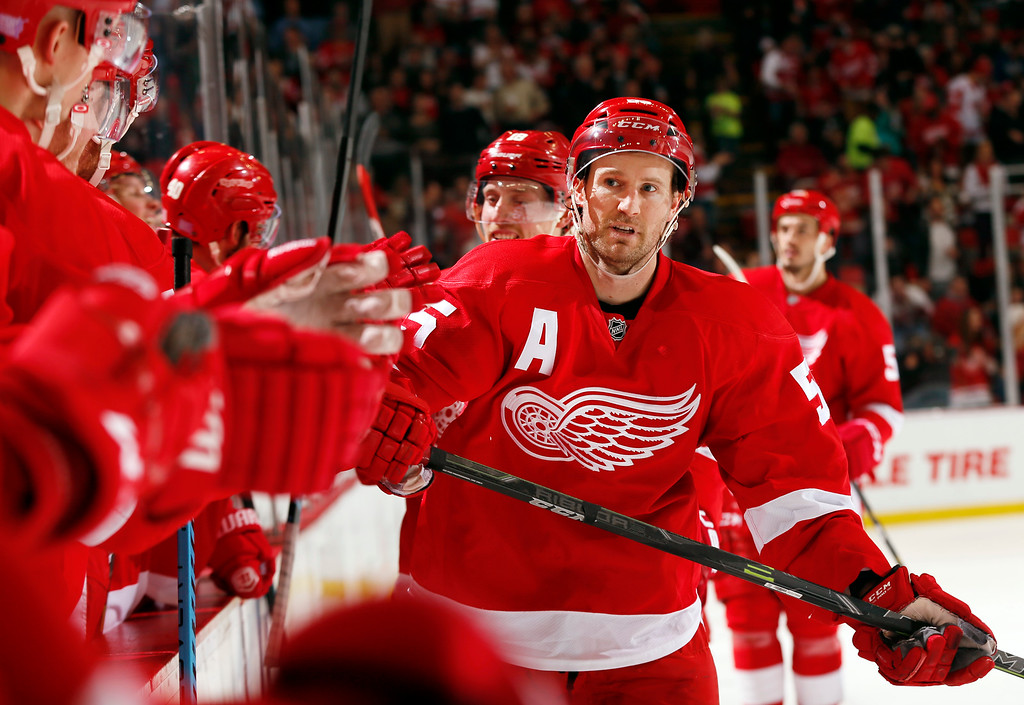 . Detroit Red Wings defenseman Niklas Kronwall (55) celebrates his goal against the New Jersey Devils in the second period of an NHL hockey game in Detroit, Friday, Nov. 7, 2014. (AP Photo/Paul Sancya)