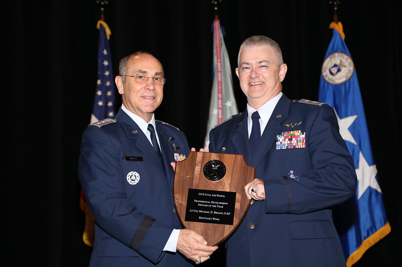 The Professional Development Officer of the Year Award recognizes the Professional Development Officer whose contributions to the program have had a positive impact on the professional development of CAP members.  This years recipient is Lt Col Michael Bryant.  Photo by Susan Schneider, CAPNHQ