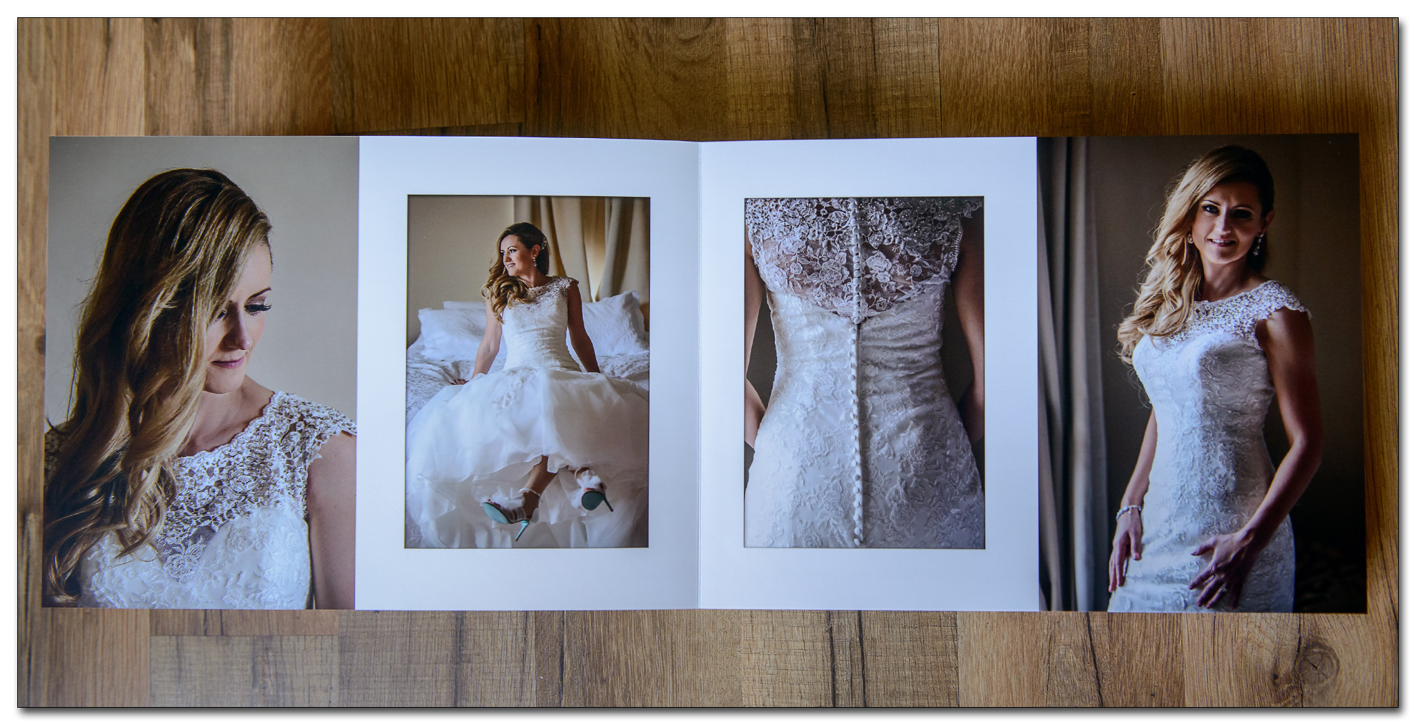4 pictures spread layout of wedding album