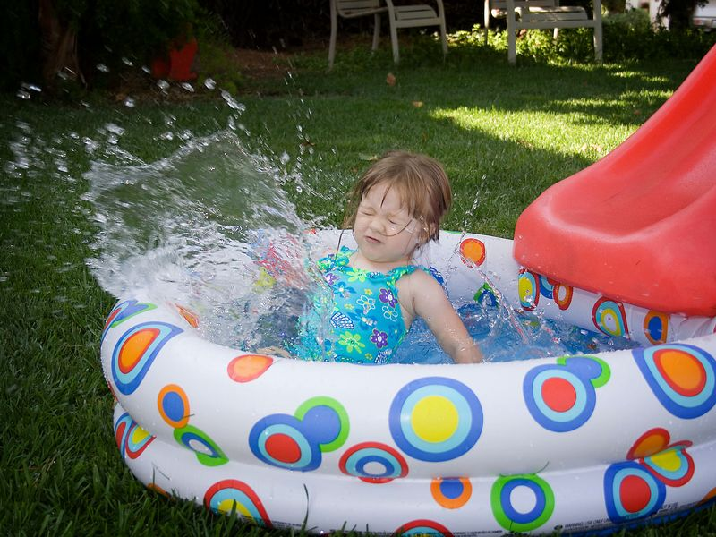 7/16 - All you need is a slide and a pool to have fun.