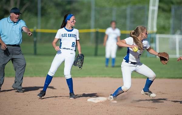 06/03/19 Wesley Bunnell   Staff Southington softball defeated Trumbull in a semifinal Class LL game at DeLuca Field in Stratford on Monday afternoon. The umpire signals the force out at second as Alexandra Rogers (8) watches Chrisala Marotto (2) pivot and throw to first.