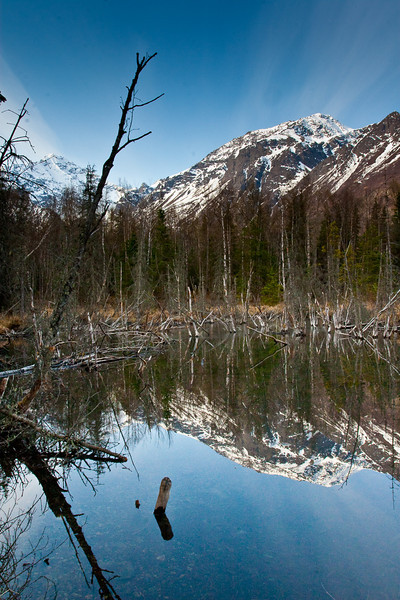 Mountain reflection in a beaver pond on the trail in.