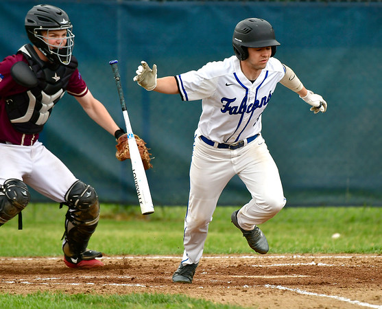 5/29/2019 Mike Orazzi | Staff St. Paul's Shaun Remillard (5) during Wednesday's Class S First Round baseball game with Sacred Heart in Bristol.