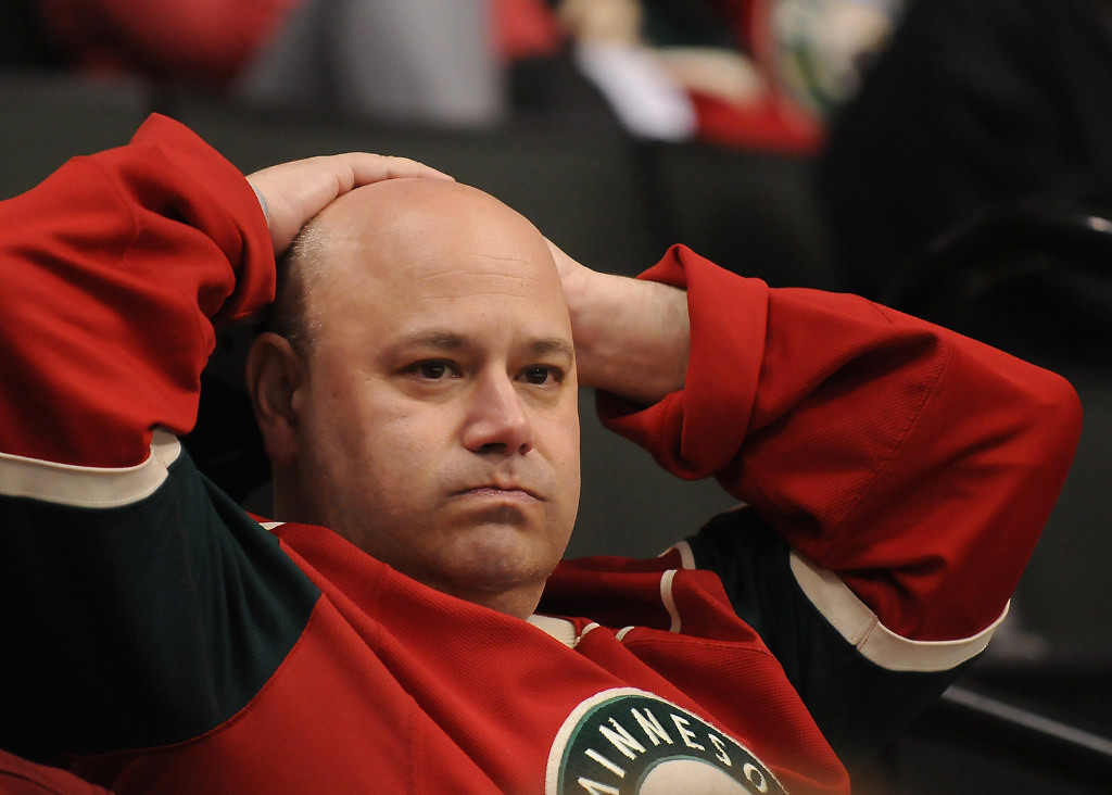 """. Wild fan Mark Greenberg\'s frustration shows as he watches his team go down to Chicago, 3-0, in the third period. \""""The Wild played hard but that (Chicago) is a frustrating team,\"""" said Greenberg. (Pioneer Press: John Autey)"""