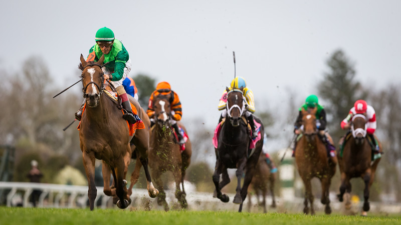 Sistercharlie (Myboycharlie) wins the Jenny Wiley (G1) at Keeneland on 4.14.2018. John Velazquez up, Chad Brown trainer, Peter Brant owner.